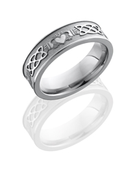 Titanium 6mm Flat Band with Claddagh Celtic Pattern