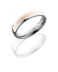 Cobalt Chrome 4mm Domed Band with 1mm of 14KR