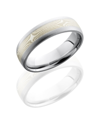 Cobalt Chrome 6mm Domed Band with 3mm Mokume