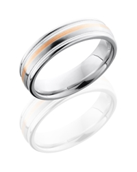 Cobalt Chrome 6mm Domed Band with Rounded Edges, Milgrain, and 1mm 14KR