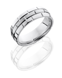 Cobalt Chrome 7mm Domed Band with Brick Pattern